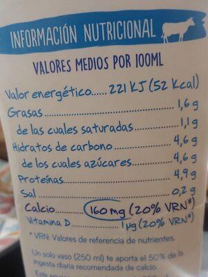 Leche asturiana calcio semidesnatada - Información nutricional