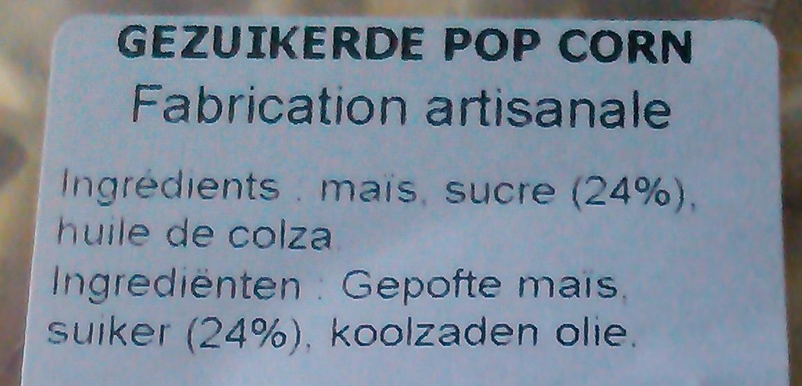 Pop Corn - Ingrédients