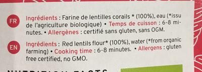 Red lentils pasta organic - Ingrédients - fr