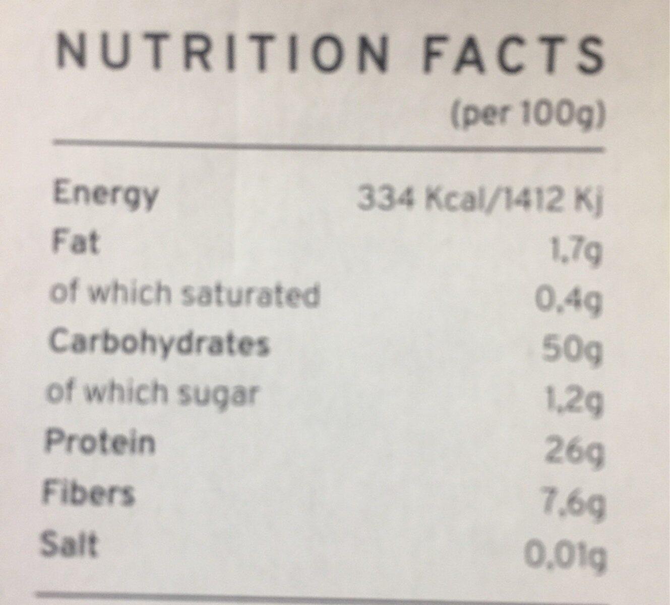 Red lentils pasta organic - Informations nutritionnelles - fr