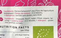 Pasta Amaranth - Ingrediënten - en