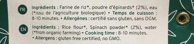 Pates épinards riz - Ingrédients - fr