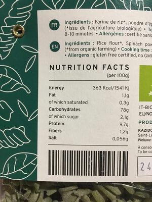 Pates épinards riz - Informations nutritionnelles - fr