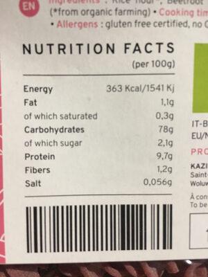 Beetroot - Informations nutritionnelles - fr