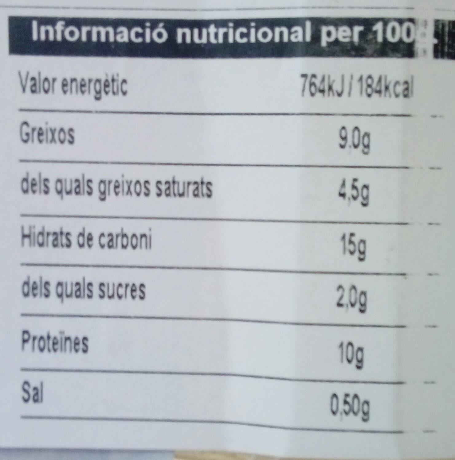 6 canelons de carn - Nutrition facts - ca