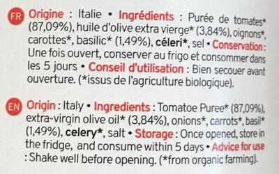 Sauce Tomate Basilic Bio Kazidomi - Ingrédients - fr