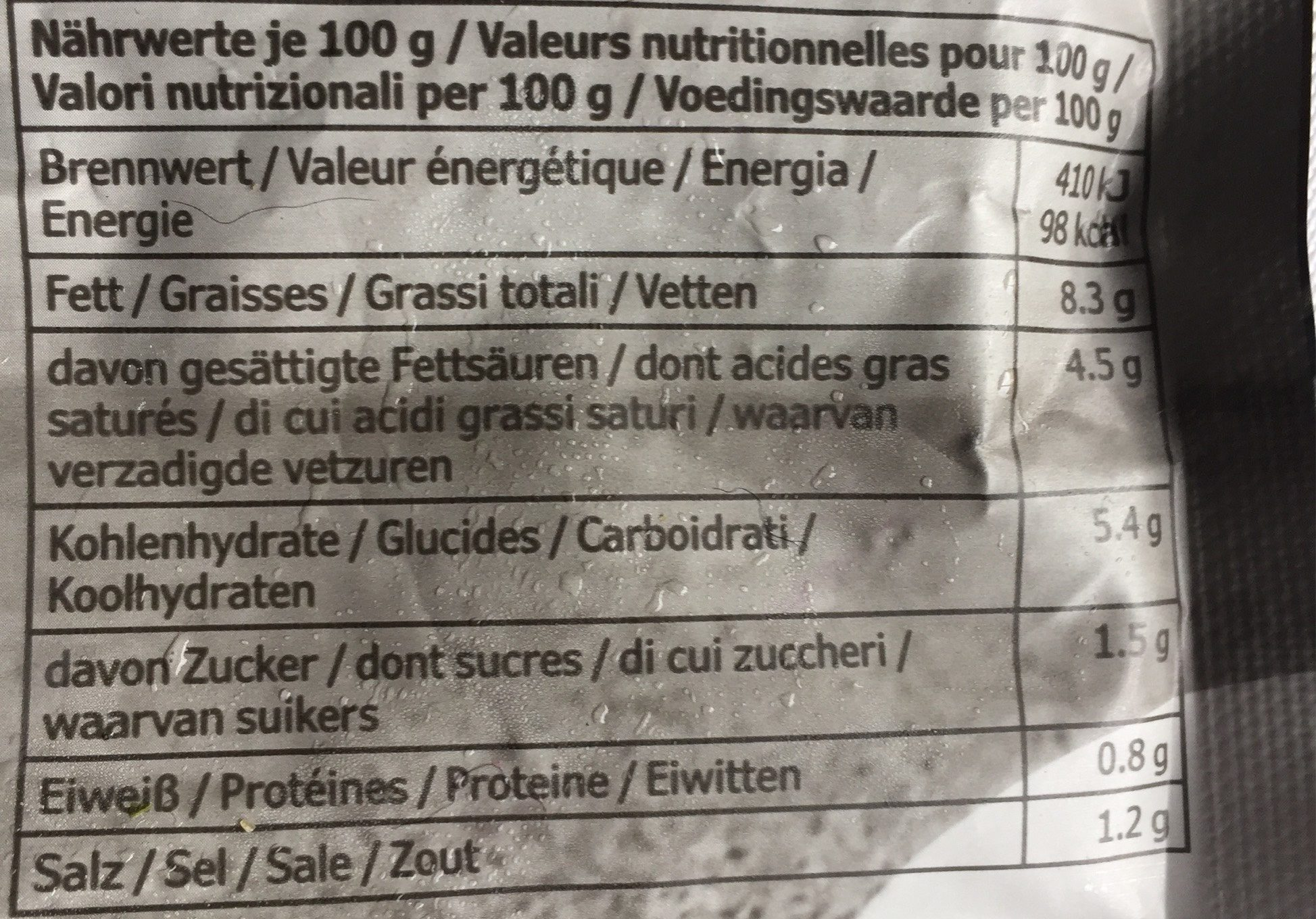 Tomat & Ort - Informations nutritionnelles
