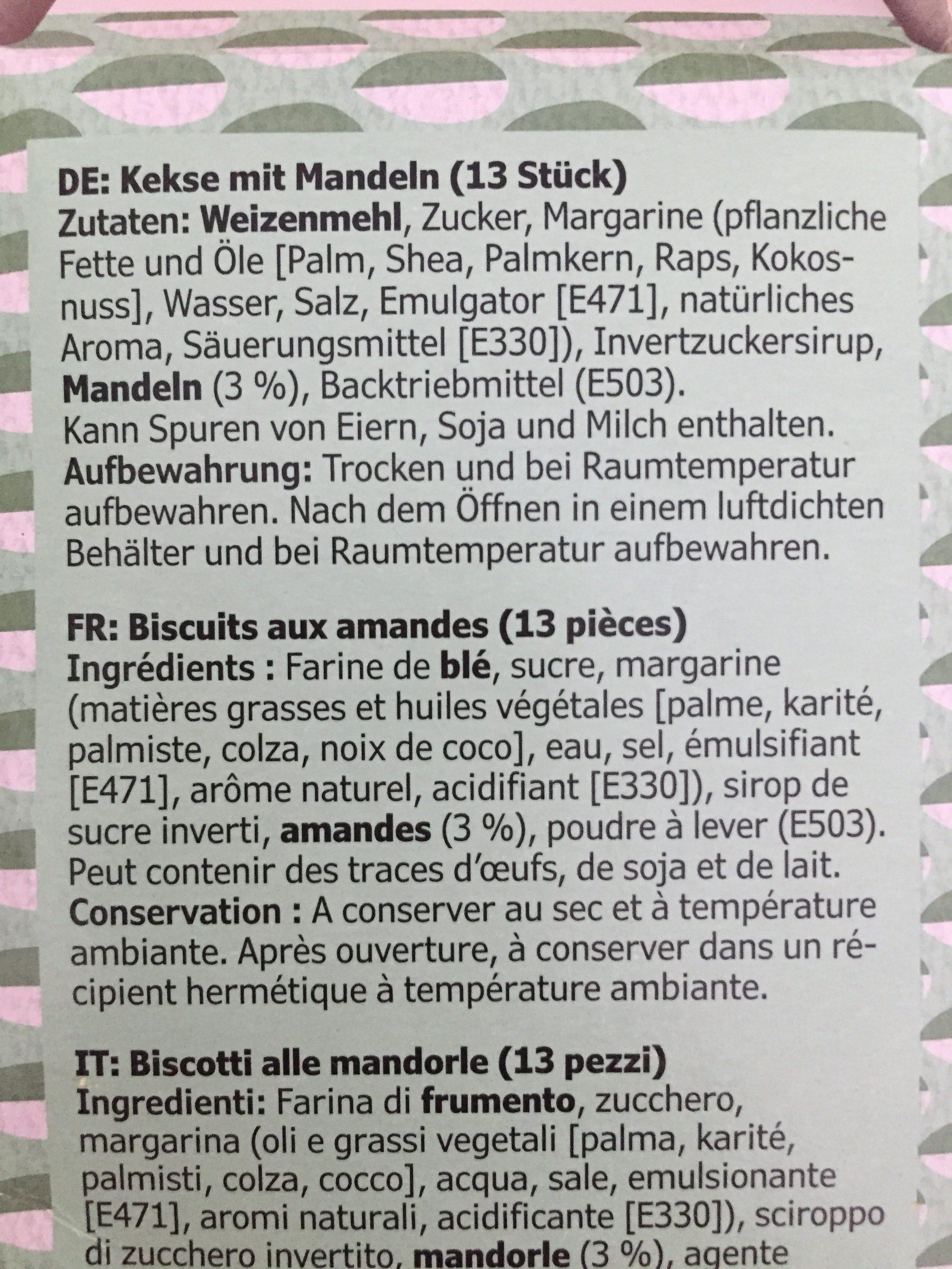 KAFFEREP biscuits aux amandes - Ingredientes - fr