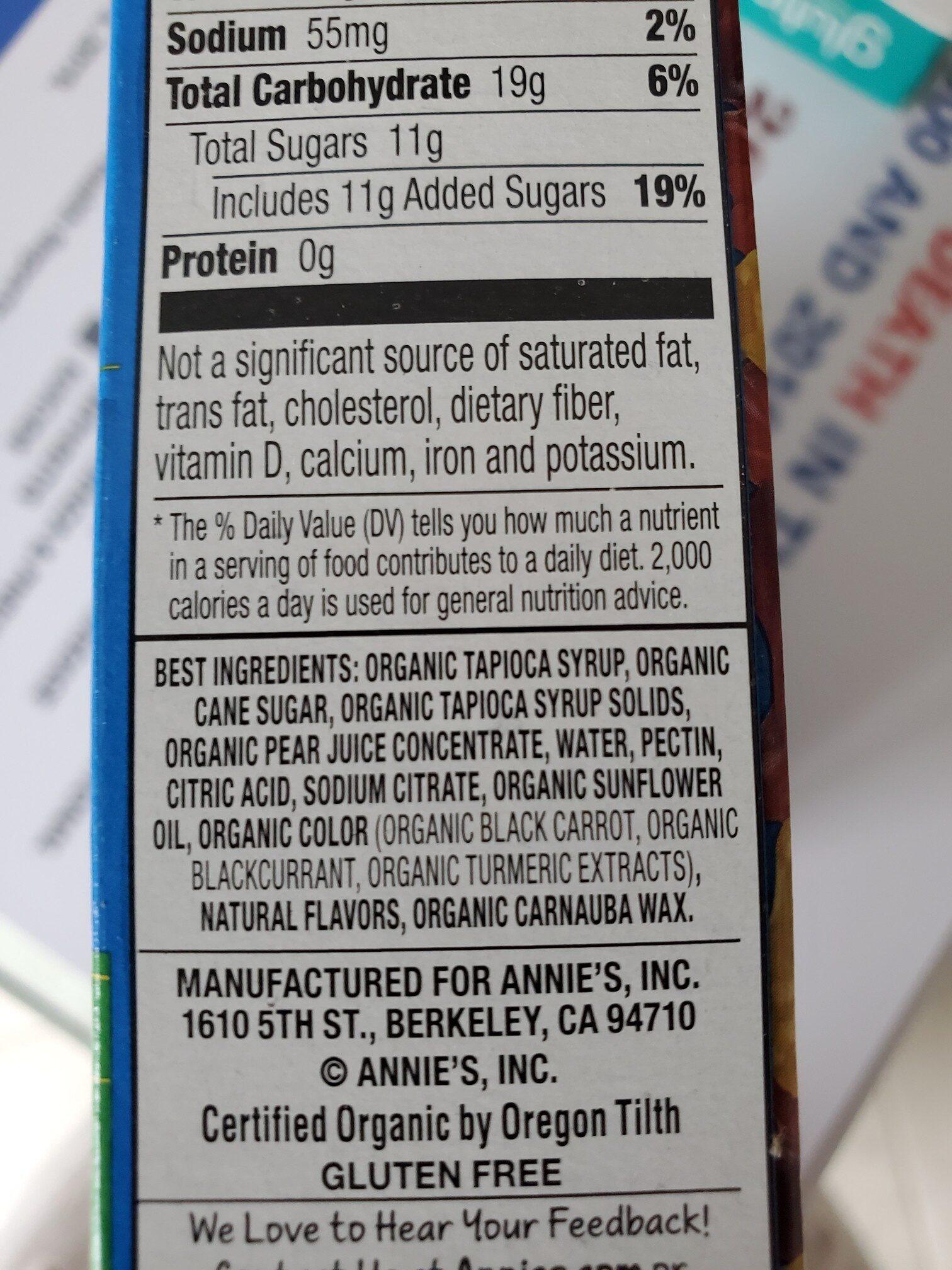 Annies Organic Bunny Fruit Snacks - Ingredients