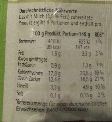 Pudding Schokolade - Nutrition facts - de