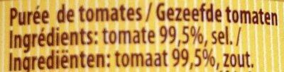Purée de Tomates - Ingredients - es