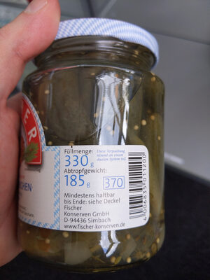 Cocktailgürkchen - Informations nutritionnelles