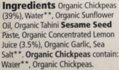 Organic houmous - Ingrédients