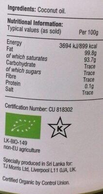 Coconut Oil 100% Pure Virgin - Voedingswaarden - fr