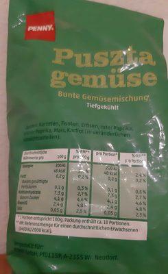 Pusztagemüse Bunte Gemüsemischung Tiefgekühlt - Ingredients