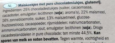 Gluten free dark chocolate chip cookies - Ingredients - nl