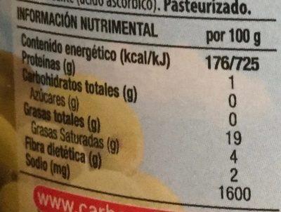 Aceitunas Verdes con Hueso - Informations nutritionnelles - es