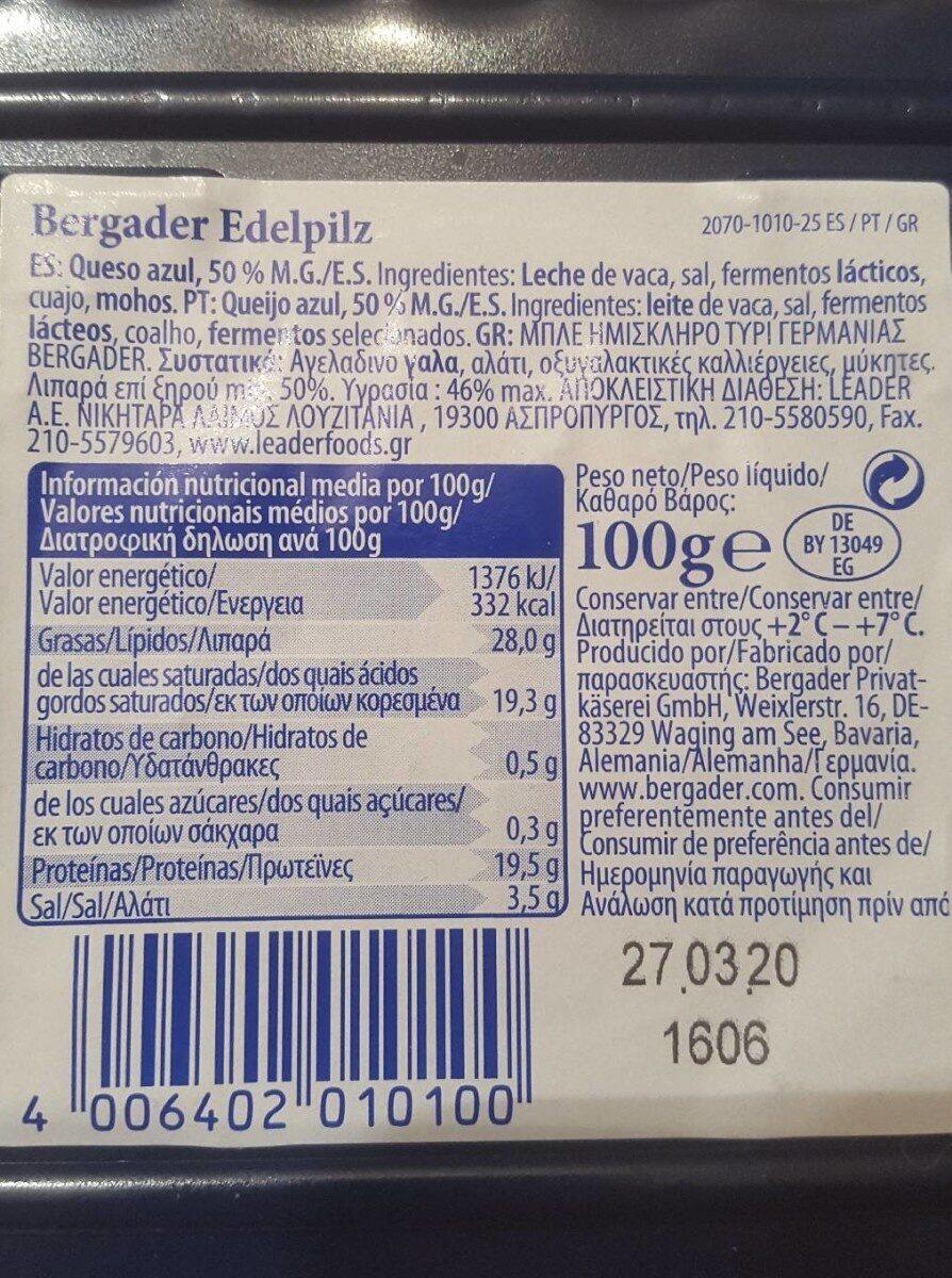 Queso azul - Informació nutricional - es
