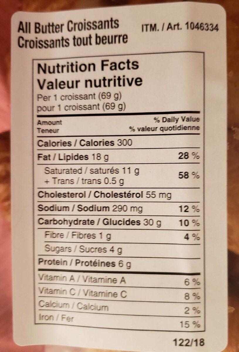 Croissants tout beurre - Informations nutritionnelles - en