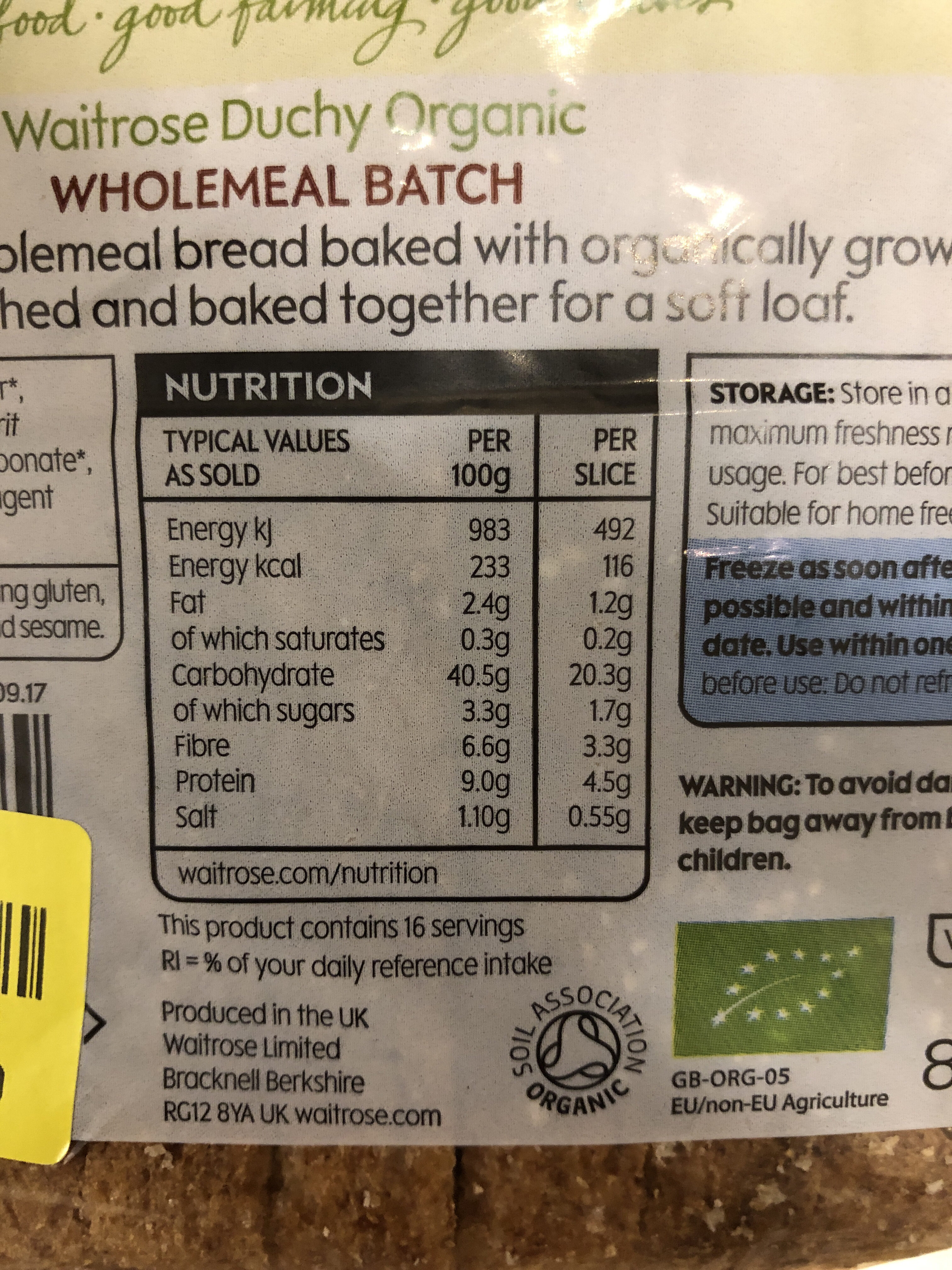 Waitrose duchy organic - Informations nutritionnelles