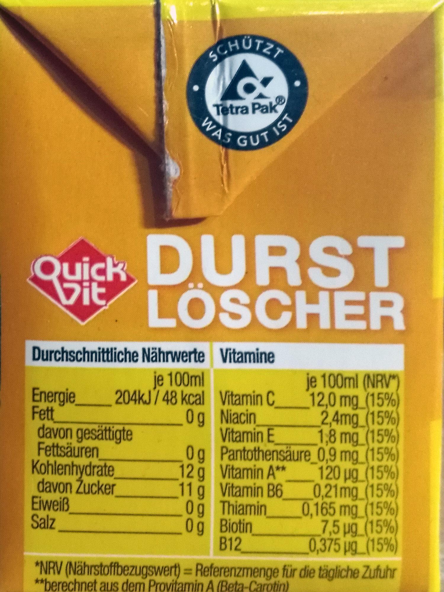 Durstlöscher - Informations nutritionnelles - de