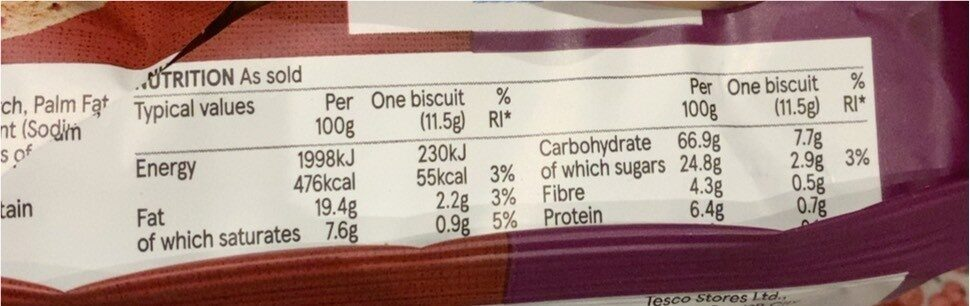 Free From digestive biscuits - Informations nutritionnelles - en
