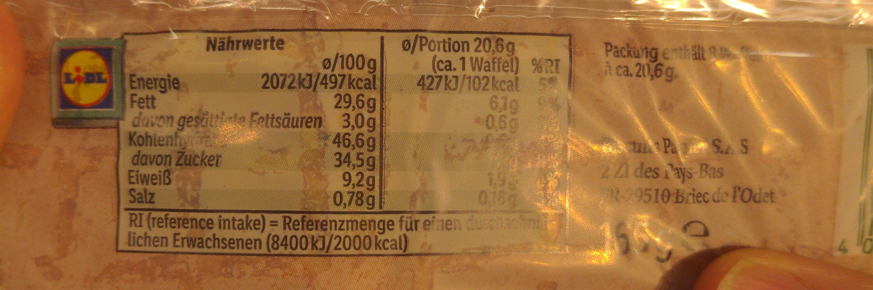 Bio Eier Waffeln - Informations nutritionnelles - de