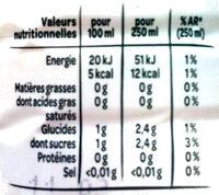 Volic Citron - Informations nutritionnelles