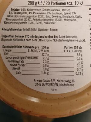 Hummus Pesto - Informations nutritionnelles