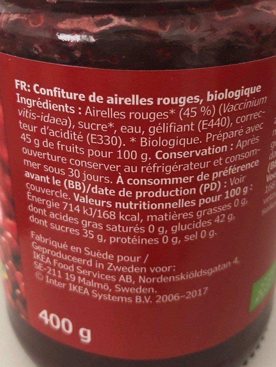 Sylt Lingon (lingonberry jam) - Informations nutritionnelles - fr
