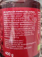 Ekologisk SYLT LINGON - Wartości odżywcze - fr