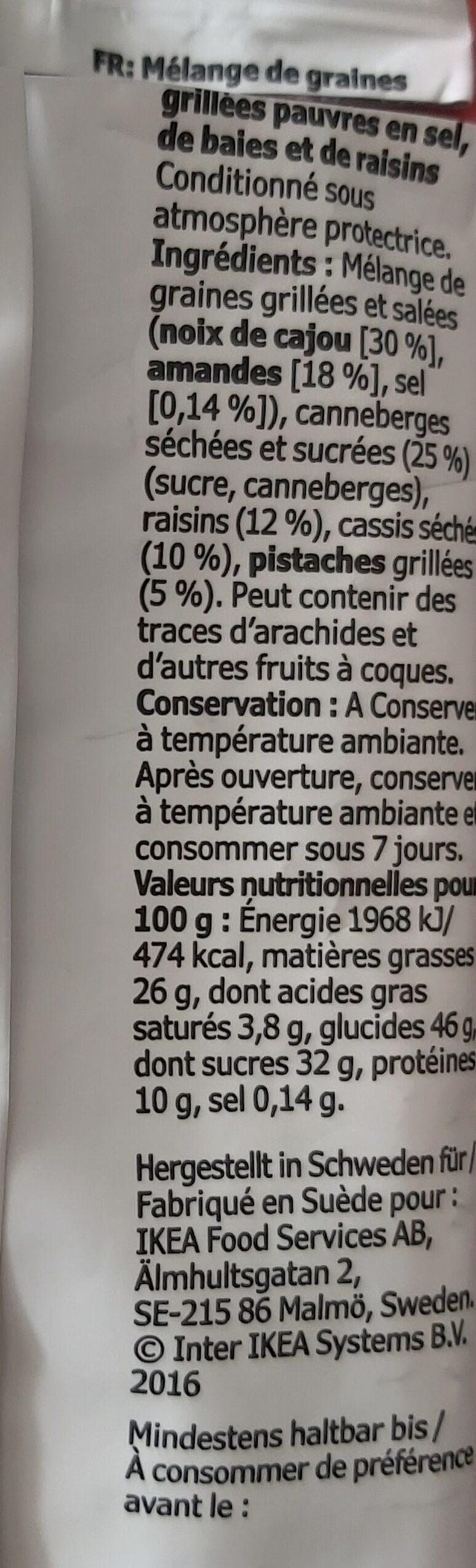 Mélange De Graines Grillees - Información nutricional - fr