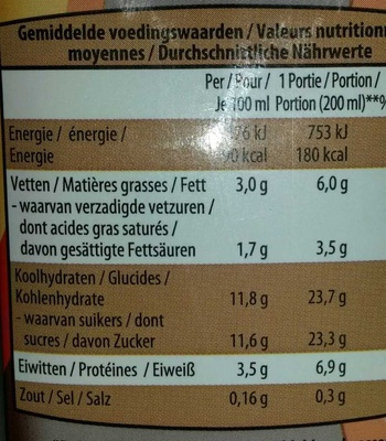Lait choco entier - Informations nutritionnelles - fr
