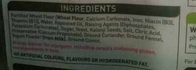 2 plain naans - Ingredients
