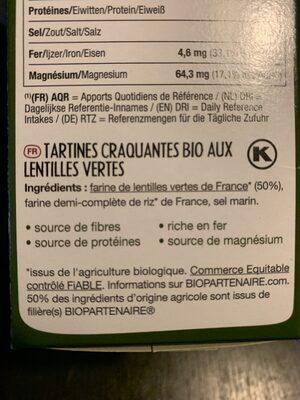 Tartines bio craquantes de sarrasin - Ingredientes - fr