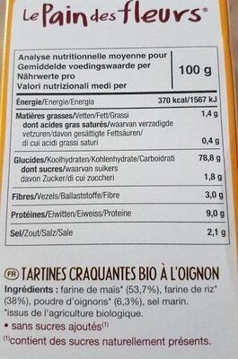 Tartines craquantes au sarrasin sans gluten - Nutrition facts