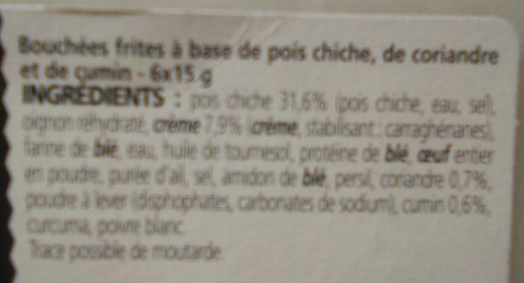 falafels pois chiche et coriandre - Ingrédients