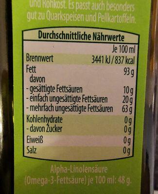 Bio-Leinöl - Informations nutritionnelles