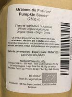 Graines de Potiron biologiques - Informations nutritionnelles - fr