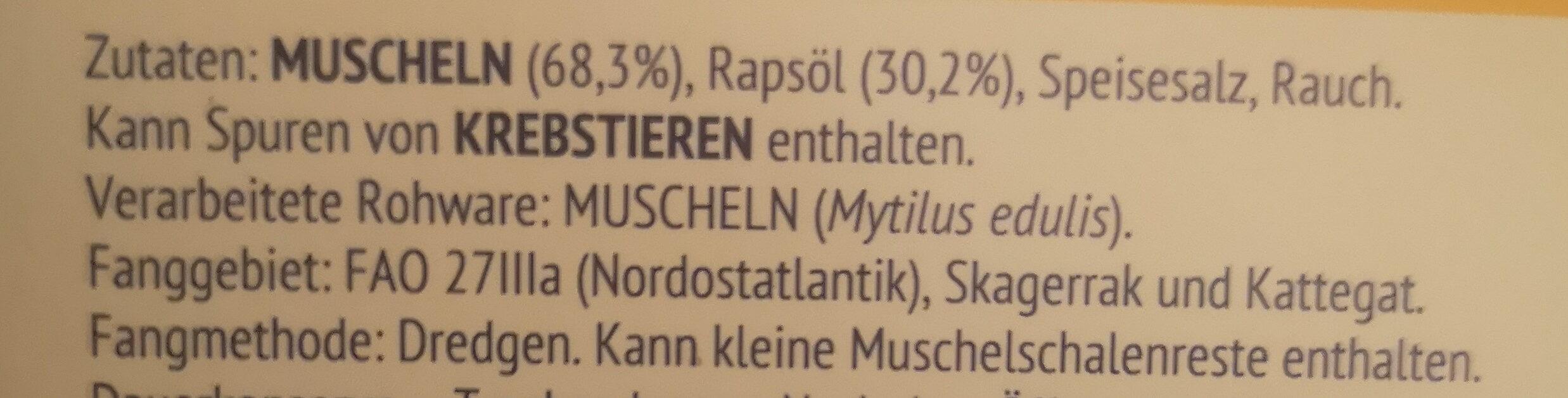 Geräucherte Muscheln in Rapsöl - Ingredients - de