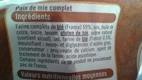 pain de mie grandes tranches - Ingredients