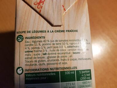 velouté Gourmand aux 8 légumes et crème fraîche - Ingredients - fr