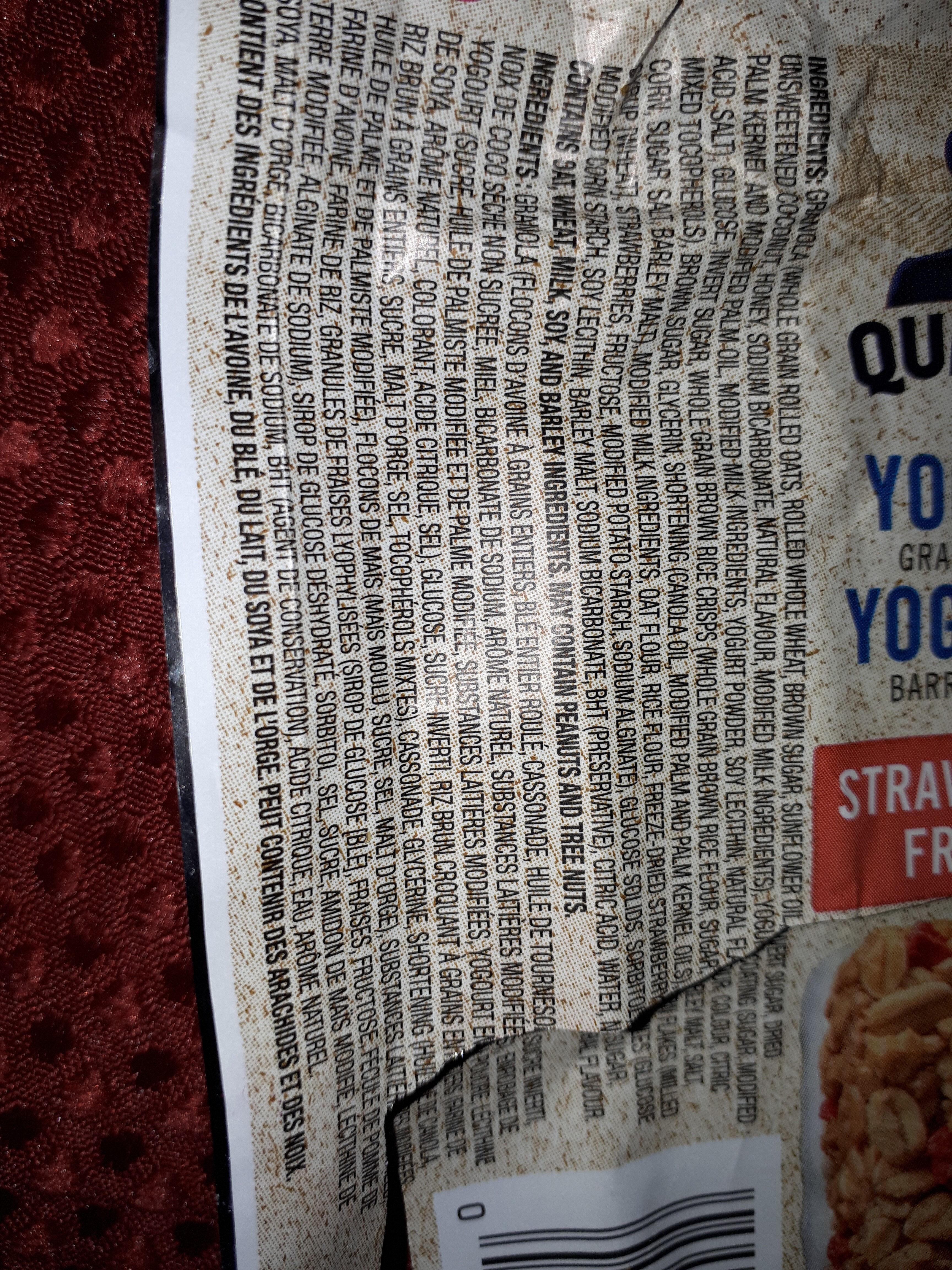 quaker yogourt barre tendre fraise - Ingrédients - fr