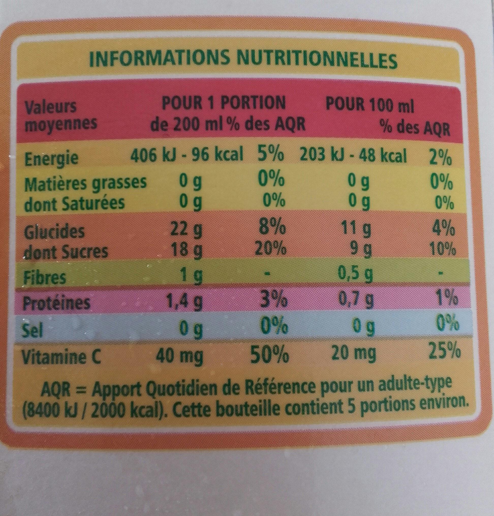 jus d Orange - Informations nutritionnelles - fr