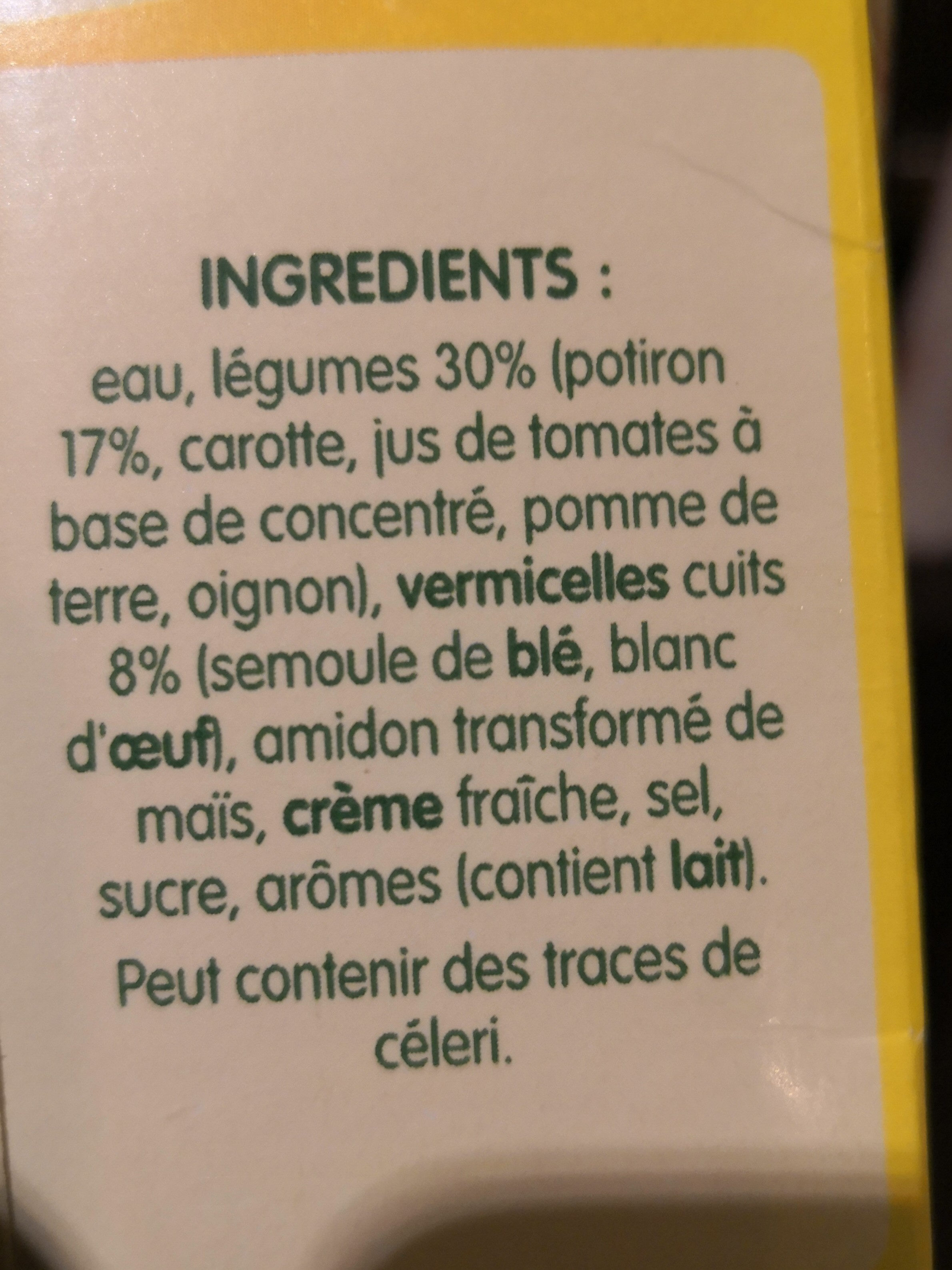 Potiron et vermicelles - Ingredients - fr