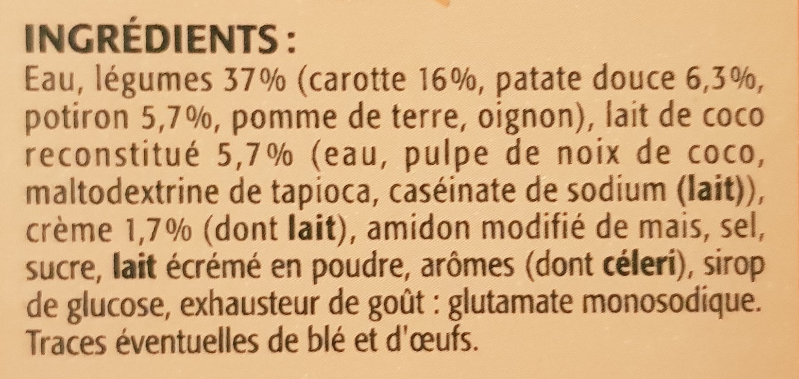 Velouté Carotte Potiron Patate douce - Ingrediënten - fr