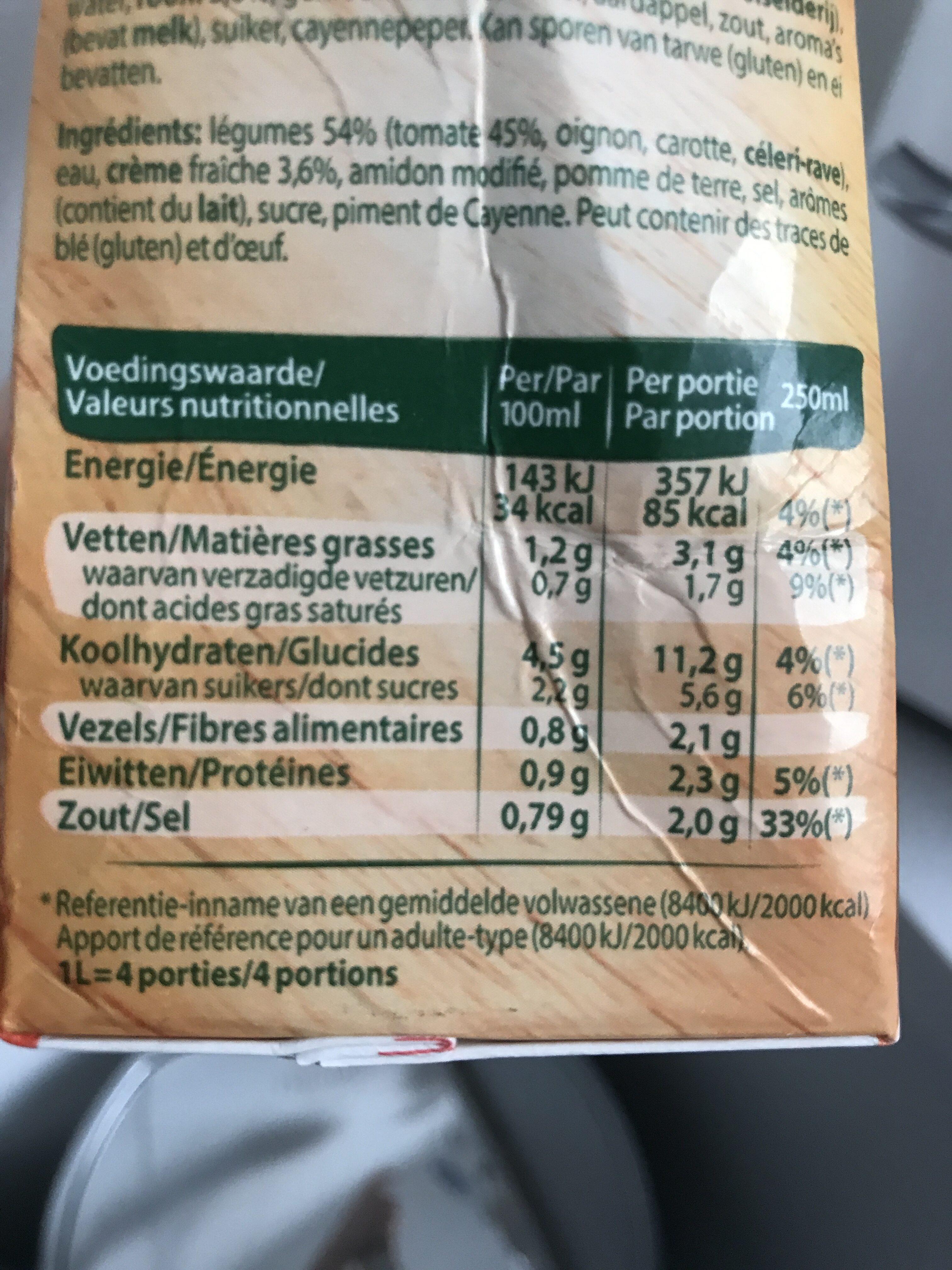 Deli'soupe - Voedingswaarden - fr