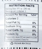Top of the Rock Spring Water - Nutrition facts