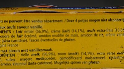 Crème aux oeufs - Ingrédients