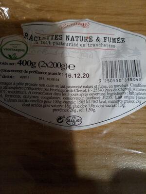 RACLETTES NATURE & FUMÉE - Informations nutritionnelles - fr
